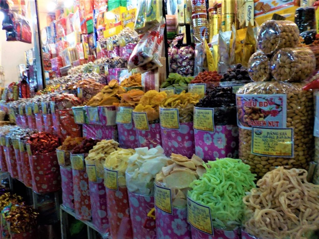 a sweets market in Vietnam- less packaging than a normal supermarket meaning a more eco choice