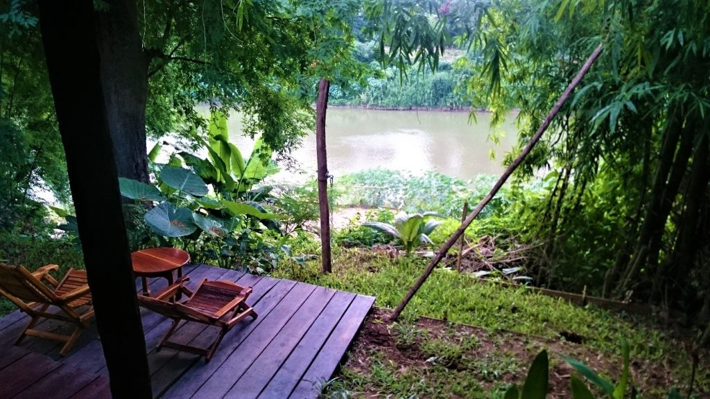 Our hostel room overlooking the Mekong River in Luang Prabang, Laos