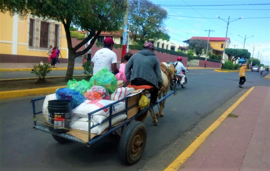 Reducing the enviromental impact of a car by using a horse and cart instead in Nicaragua