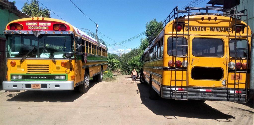 Chicken buses in Granada, Nicaragua